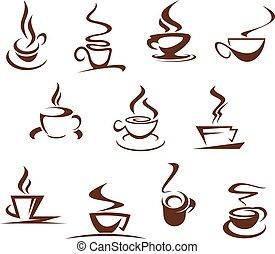 vettore, campanelle, caffè, caffè, icone, set, cafeteria