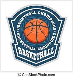 vettore, campionato, emblema, -, t-shirt, pallacanestro
