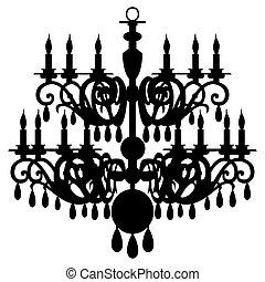 vettore, candeliere, silhouette