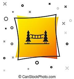 vettore, capilano, vancouver, quadrato giallo, bianco, canada, isolato, ponte, icona, button., fondo., nero, sospensione