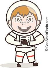 vettore, carattere, cartone animato, astronauta, eccitato