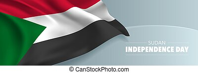 vettore, card., indipendenza, bandiera, giorno, augurio, sudan