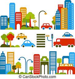 vettore, carino, strada, illustrazione, città