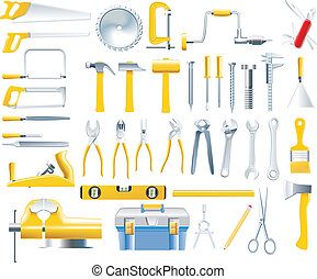 vettore, carpentiere, set, attrezzi, icona