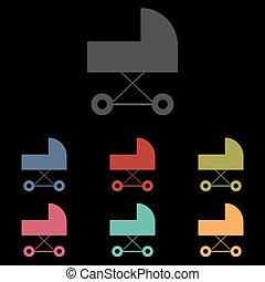 vettore, carrozzina, icona