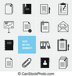vettore, carta, documenti, icona, blocco note