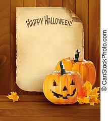 vettore, carta, fondo, vecchio, halloween