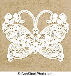 vettore, carta in fogli, farfalla