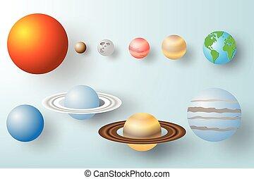vettore, carta, sistema, arte, fondo, solare, illustrazione, pianeta