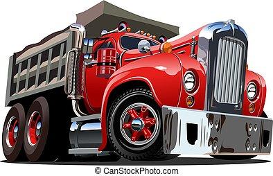 vettore, cartone animato, camion, retro, discarica
