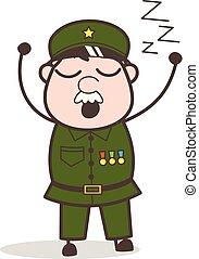 vettore, cartone animato, molto, sonnolento, sentimento, illustrazione, sergente