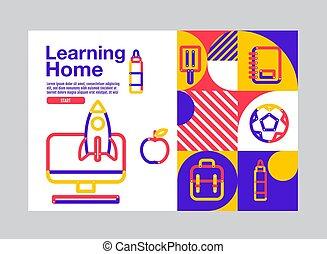 vettore, casa, illustration., educazione, sagoma, cultura, bandiera