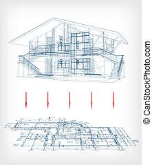 vettore, casa, plan., modello, stilizzato, pavimento