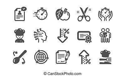 vettore, certificato., taglio, esame, cliente, chef, set., forbici, domanda, icons., classico, approvato, cappello