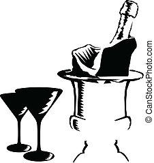 vettore, champagne, illustrazione