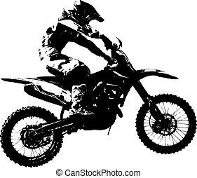 vettore, championship., motocross, participates, cavaliere, illustration.