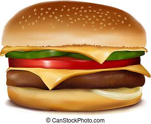 vettore, cheeseburger., illustration.