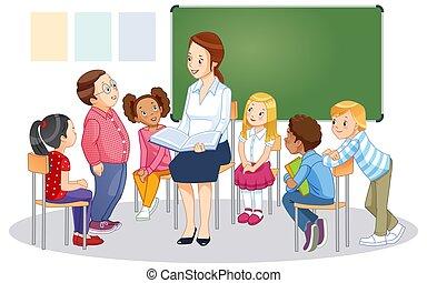 vettore, children., illustrazione, lavagna, insegnante, isolato, aula, cartone animato