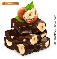 vettore, chocolate., 3d, realistico, nocciole, icona