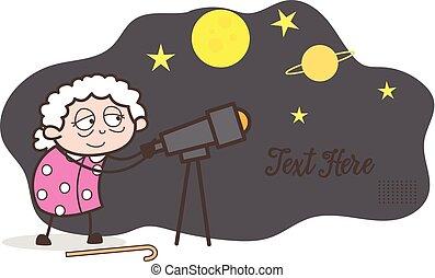 vettore, cielo stellato, cartone animato, osservare, telescopio, illustrazione, nonna, attraverso