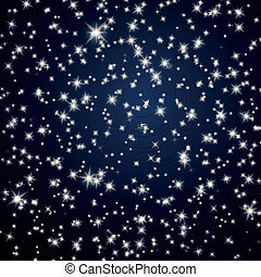 vettore, cielo, stelle, fondo, notte