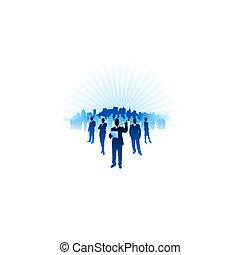 vettore, città, ai8, uomo affari, fondo, donna d'affari, file, compatibile, orizzonte, origianl, illustration:, internet