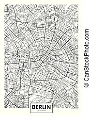 vettore, città, dettagliato, mappa, manifesto, berlino