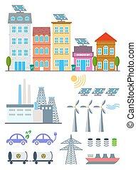vettore, città, set, bandiera, elements., diagramma, eco, ecosistema, illustrazione, ambiente, infographic, ecologia, icons., sagoma, opuscolo, verde, disegno web, elementi, fondo