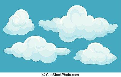 vettore, clouds., blu, fondo., illustrazione, bianco, set