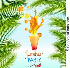 vettore, cocktail, estate, illustrazione, vacanze