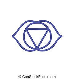 vettore, colorare, illustrazione, chakra, ajna, icona, scarabocchiare