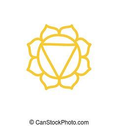 vettore, colorare, illustrazione, chakra, manipura, icona, scarabocchiare