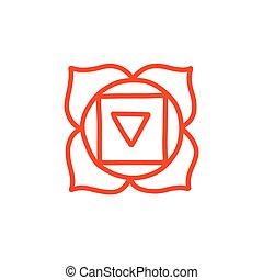vettore, colorare, illustrazione, chakra, muladhara, icona, scarabocchiare