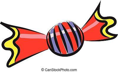 vettore, colorito, schizzo, candy/chocolate, colorare, o, caramella, illustrazione