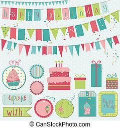 vettore, -, compleanno, disegno, retro, album, invito, elementi, celebrazione