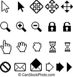 vettore, computer, pixel, collezione, icone