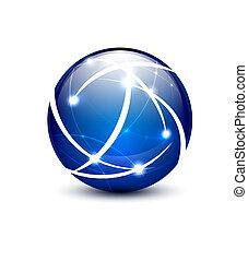 vettore, comunicazione, globo, concetto, icona