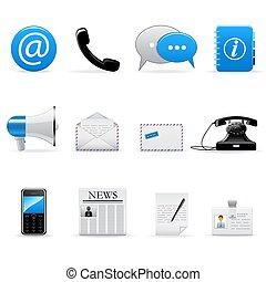 vettore, comunicazione, set, icone fotoricettore