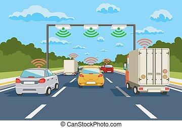 vettore, comunicazione, sistema, autostrada, infographics