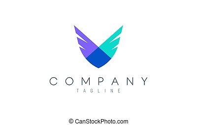 vettore, concept., 2, moderno, coraggio, happiness., ali, libertà, rappresentare, logotipo, suitable, disegno