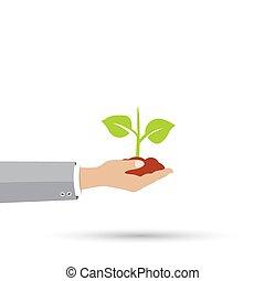 vettore, concetto, crescita, icona
