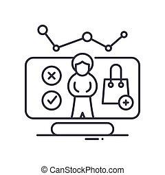 vettore, concetto, disegno, linea, bianco, simbolo, contorno, editable, web, cliente, icona, isolato, analisi, colpo, illustrazione, fondo., segno, lineare, magro