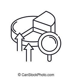 vettore, concetto, disegno, linea, bianco, simbolo, contorno, editable, web, icona, isolato, analisi, colpo, illustrazione, mercato, fondo., segno, lineare, magro