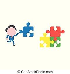 vettore, concetto, faceless, mancante, puzzle, jigsaw, carattere, illustrazione, portante, correndo, presa a terra, uomo affari, pezzo