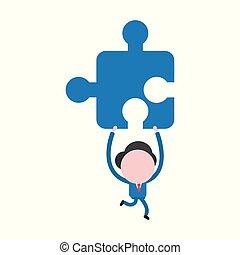 vettore, concetto, faceless, puzzle, jigsaw, carattere, su, illustrazione, portante, correndo, presa a terra, uomo affari, pezzo