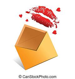 vettore, concetto, lettera d'amore, valentina