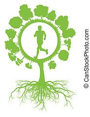 vettore, concetto, sano, albero, ambientale, correndo, ecologia, sfondo verde, radici, uomo