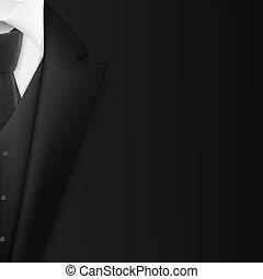 vettore, concetto, smoking, mens, realistico, suit., riuscire, abito nero, uomo affari