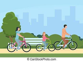 vettore, concetto, stile di vita, famiglia, persone, sano, bikes., ricreativo, padre, illustrazione, esterno, ozio, madre, sentiero per cavalcate, activity., bambini, felice