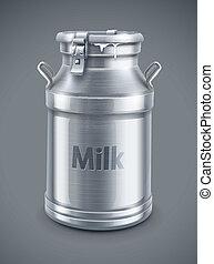 vettore, contenitore, lattina, latte